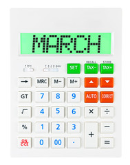 Calculator with MARCH on display isolated on white background