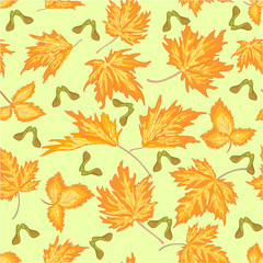 Seamless texture maple leaves autumm theme background vector