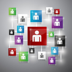 colorful people icons connect together