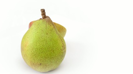 fresh pear rotating on white background