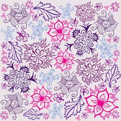 Fond Motif Fleurs Feuillages Violet Rose Mauve