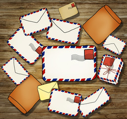 Stack of Letter and Envelope Illustration