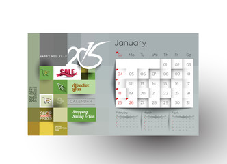 Creative New Year Calendar 2015 Background.