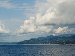 Coastal landscape with a tropical beach.