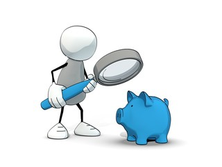 little sketchy man looking at a blue piggy bank with magnifier