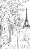 Street in autumn Paris. Eiffel tower -sketch illustration - 71255709