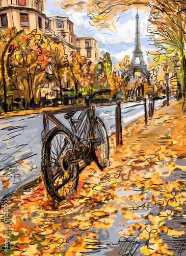 Street in autumn Paris. Eiffel tower -sketch illustration - 71255750