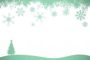 Snowflakes and fir tree in green