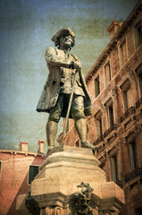 Vintage statue of the italian writer Carlo Goldoni Venice Italy