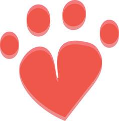 pet paw heart icon