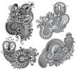grey original hand draw line art ornate flower design