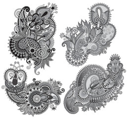 grey original hand draw line art ornate flower design