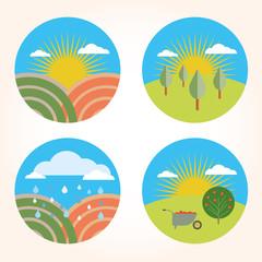 set garden farm scene