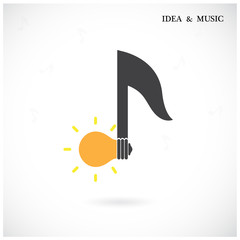 Creative music note sign and light bulb symbol . Idea and musica