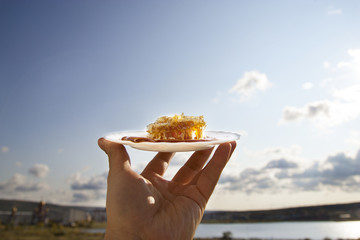 Honey comb on a white saucer