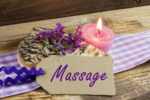 canvas print picture Massage im Biohotel