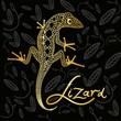 Golden lizard on a black decorative background design