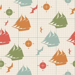 pattern seamless ships compasses birds on graph paper decorative