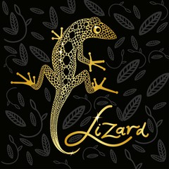 Golden lizard on a black decorative background design