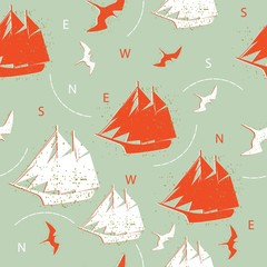 pattern ships and birds decorative silhouettes background design