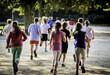 Leinwandbild Motiv Young school runners
