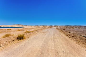 A desert road.