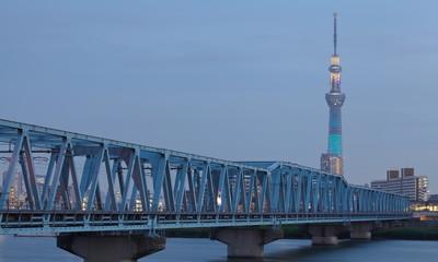 Tokyo sky tree at Sumida river in evening