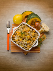 pasta casarecce with pumpkin, lemon peel and parmesan cheese