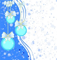 Christmas background with blue decorations