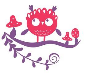 gufo rosa su ramo con funghetti