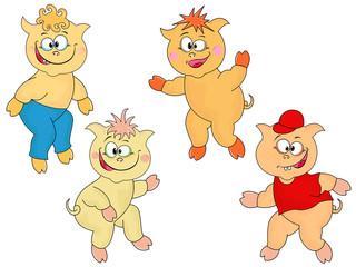Four funny cartoon piglets