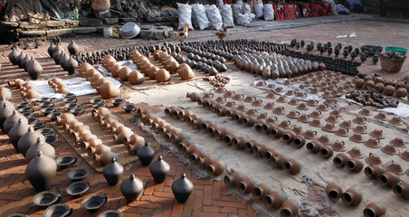 Pottery Drying in the Sun in the Ancient City of Bhaktapur