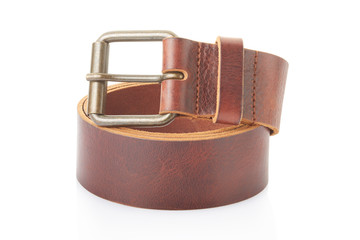Leather belt on white, clipping path