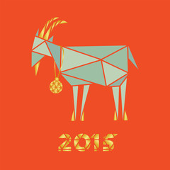 Christmas goat on a red background triangles silhouette design