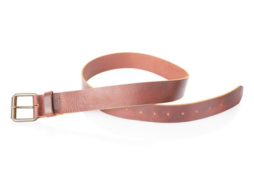 Brown leather men belt on white, clipping path