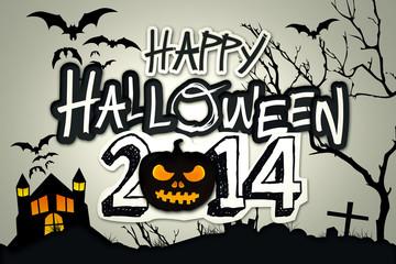 Happy Halloween 2014 Black Pumpkin Night Graveyard