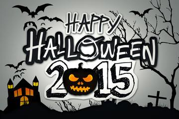 Happy Halloween 2015 Black Pumpkin Night Graveyard
