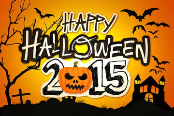 Happy Halloween 2015 Orange Pumpkin Night Graveyard
