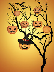 Tree Halloween Pumpkins Bats Orange Background