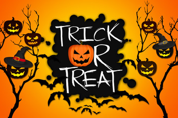 Trick or Treat Tree Halloween Pumpkins Bats Orange Background
