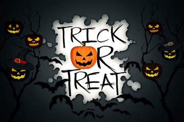 Trick or Treat Tree Halloween Pumpkins Bats Black Background