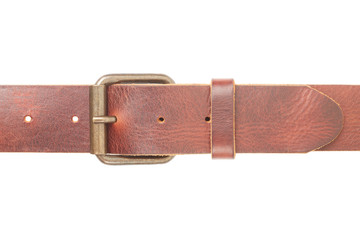 Brown leather belt with buckle on white, clipping path