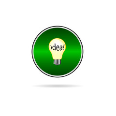 idea in buld icon on green circle illustration