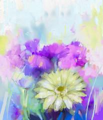 Gerbera flowers oil painting