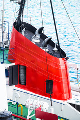 Red Conning Tower on Old Boat