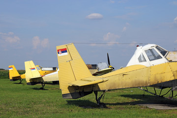 crop duster airplanes on airfield closeup