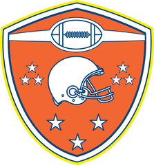 American Football Helmet Stars Shield Retro