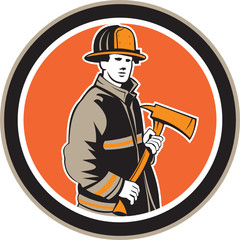Fireman Firefighter Holding Fire Axe Circle