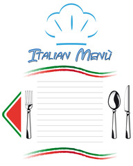 Italian table menù with cutlery set