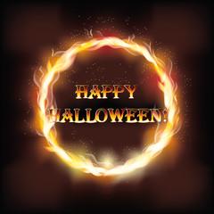 Fire happy halloween invitation card, vector